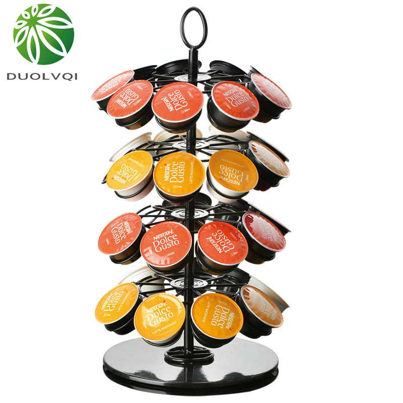 Practical Coffee Capsules Holder Rack Rotary Capsule Tower Stand For Nespresso/Dolce Gusto/K-Cup Coffee Capsules