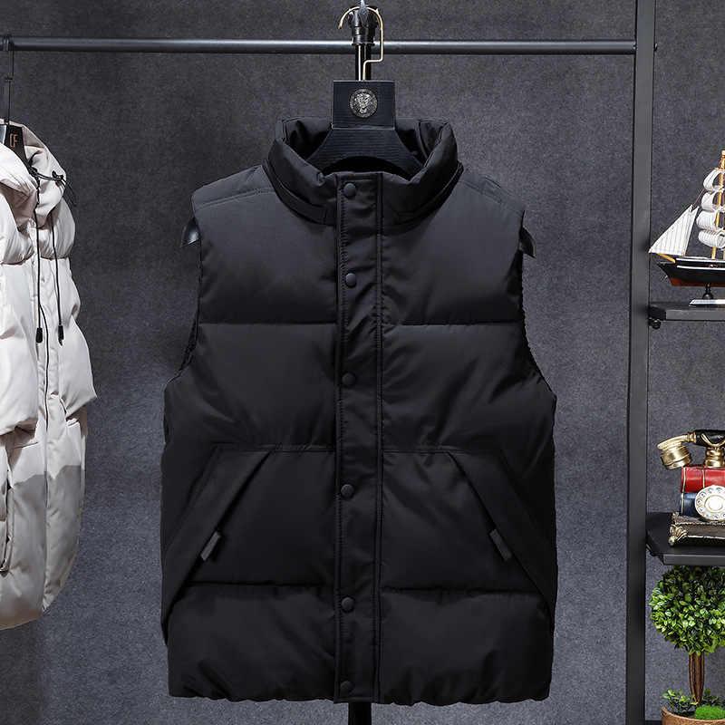 겨울 남자 플러스 크기 6xl 7xl 8xl 9xl 10xl 파카 조끼 양복 조끼 까마귀 위장 민소매 자켓 따뜻한 파카 양복 조끼 남자