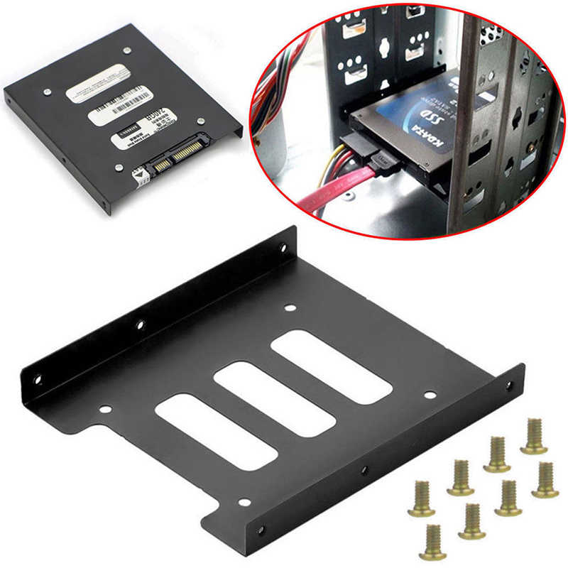 Útil Disco Duro SSD de 2,5 pulgadas a adaptador de montaje de Metal de 3,5 pulgadas, soporte de 8 tornillos, soporte de disco duro para PC, carcasa de disco duro