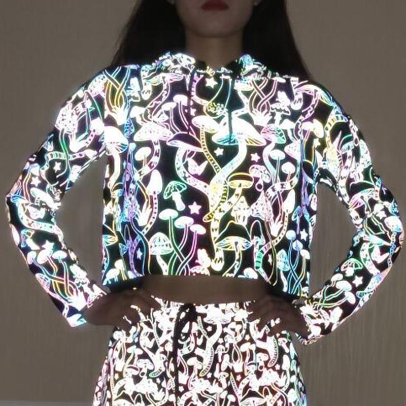 Glowing Hip Pop Streetwear Mushroom Pattern Women Pullover Reflective Hoodies Long Sleeve Casual Sweatshirt Night Shiny Crop Top