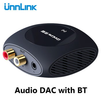 Unnlink 192Khz Digital to Analog Audio Converter Decoder Spdif Toslink Coaxial to Analog Stereo 3.5mm 2RCA DAC with BT for TV unnlink optical toslink to coaxial bidirectional audio converter hifi 5 1 dts dobly ac 3 192khz spdif coaxial to toslink for tv