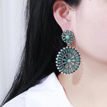 Boho Vintage Blue Stone Hollow Flower Statement Drop Earrings for Women Navajo Indian Jewelry