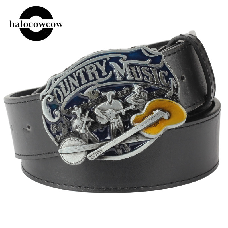 I Love Country Music Guitar Buckle Belt For Men Women Unisex Brown Black White Belts Mens Belt Luxury Brand Strap Cummerbund