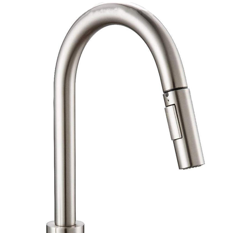 Press Kitchen Faucet With Pull-Down Sprayer, Kitchen Sink Faucet With Pull-Out Sprayer, Fingerprint Resistant, Single Hole Deck