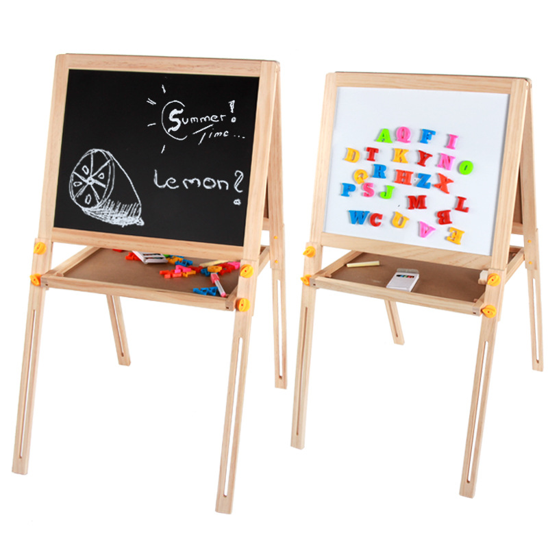 Manufacturers Direct Selling Children Wooden Double-Sided Sketchpad Magnetic Braced Adjustable Blackboard Baby Household Writing