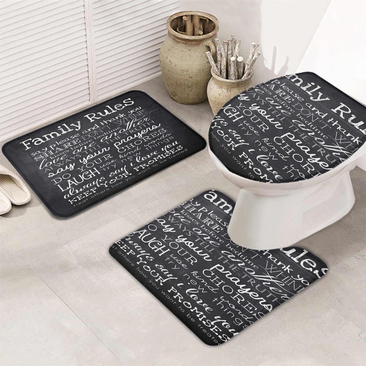 10 stück Badezimmer Set Schwarz Weiß Familie Regeln Tafel Bad Set Wc  Abdeckung Matte Sockel Teppich Non-Slip Bad teppich Set