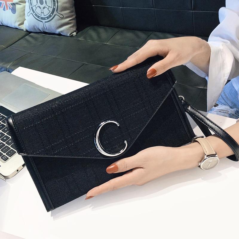 Fashion Small Square Bag European Style Canvas Metal Buckle Women Envelope Bag Temperament Versatile Chain Female Messenger Bag