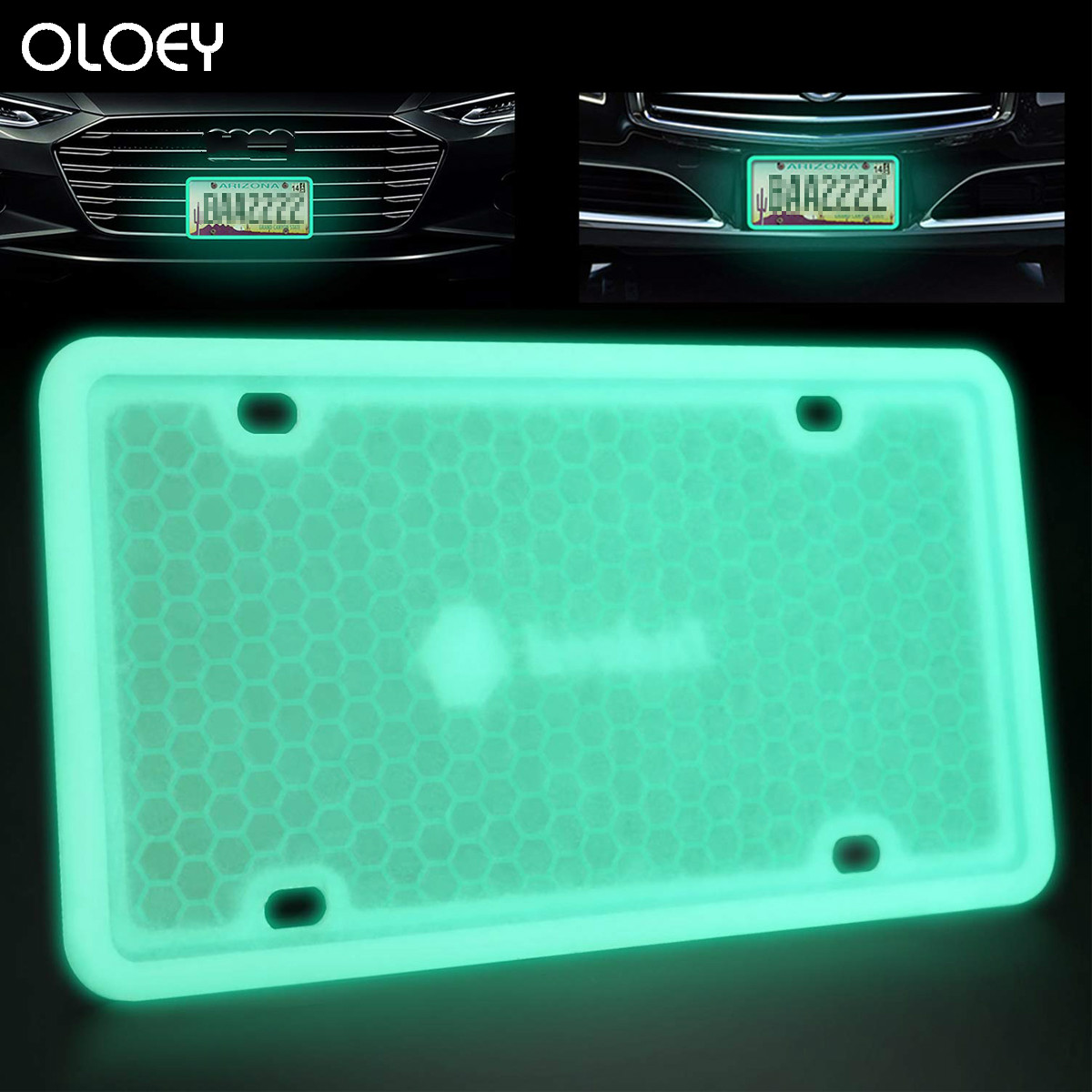 Glow License Plate Frame Silicone Rust Rattle Proof Weather Shock proof for Automotive bling License Plate Frame Fluorescence