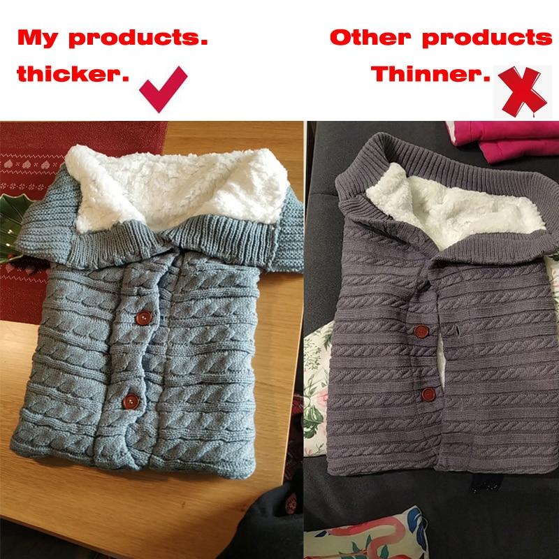 Купить зимний теплый спальный мешок для новорожденного ребенка вязаный