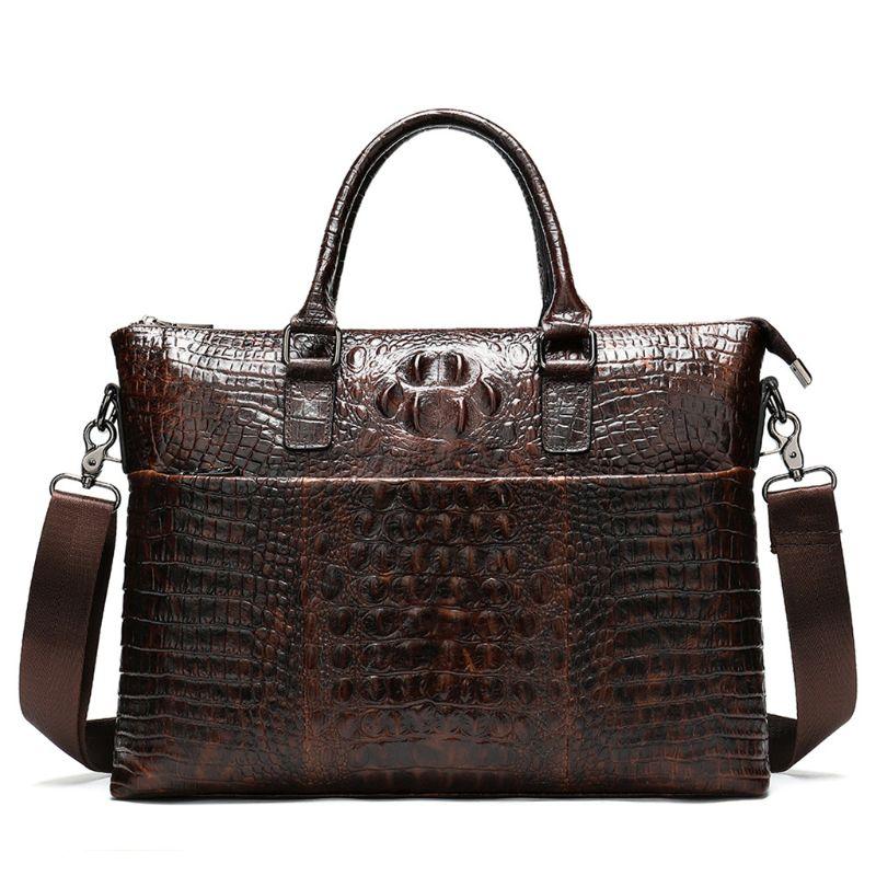 Man's Vintage Leather Briefcase 14in Laptop Tote Shoulder Bag Crossbody Business Handbag