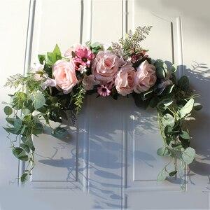 Цветочный венок с искусственными цветами и пионами ручной работы, гирлянда для зеркала, украшения для дома, свадебной вечеринки, двери