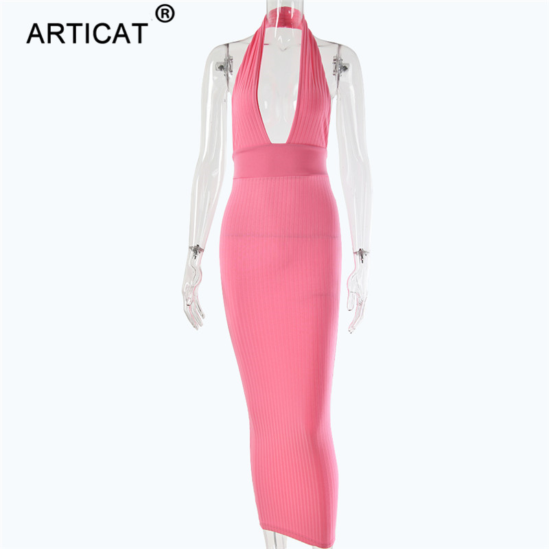 Articat Halter Backless Sexy Knitted Pencil Dress Women White Off Shoulder Long Bodycon Party Dress Elegant Summer Dress 19 10