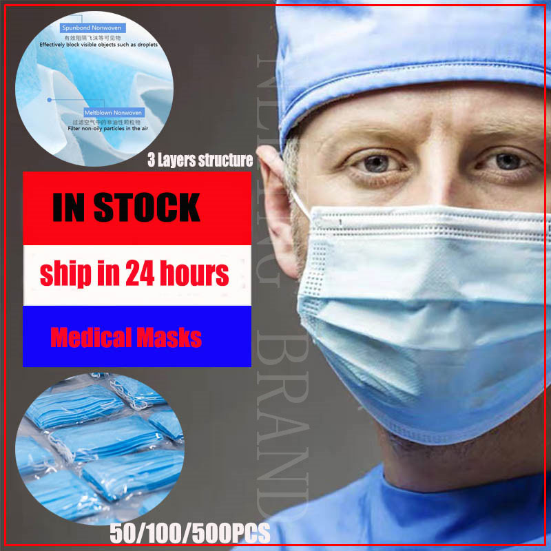 100PCS Mascaras Coronavirus 3 Layer Mask Disposable Face Masks Dust Masks Mascarillas Masque Mondkapjes Ffp3 KF94 N95 3M Mask