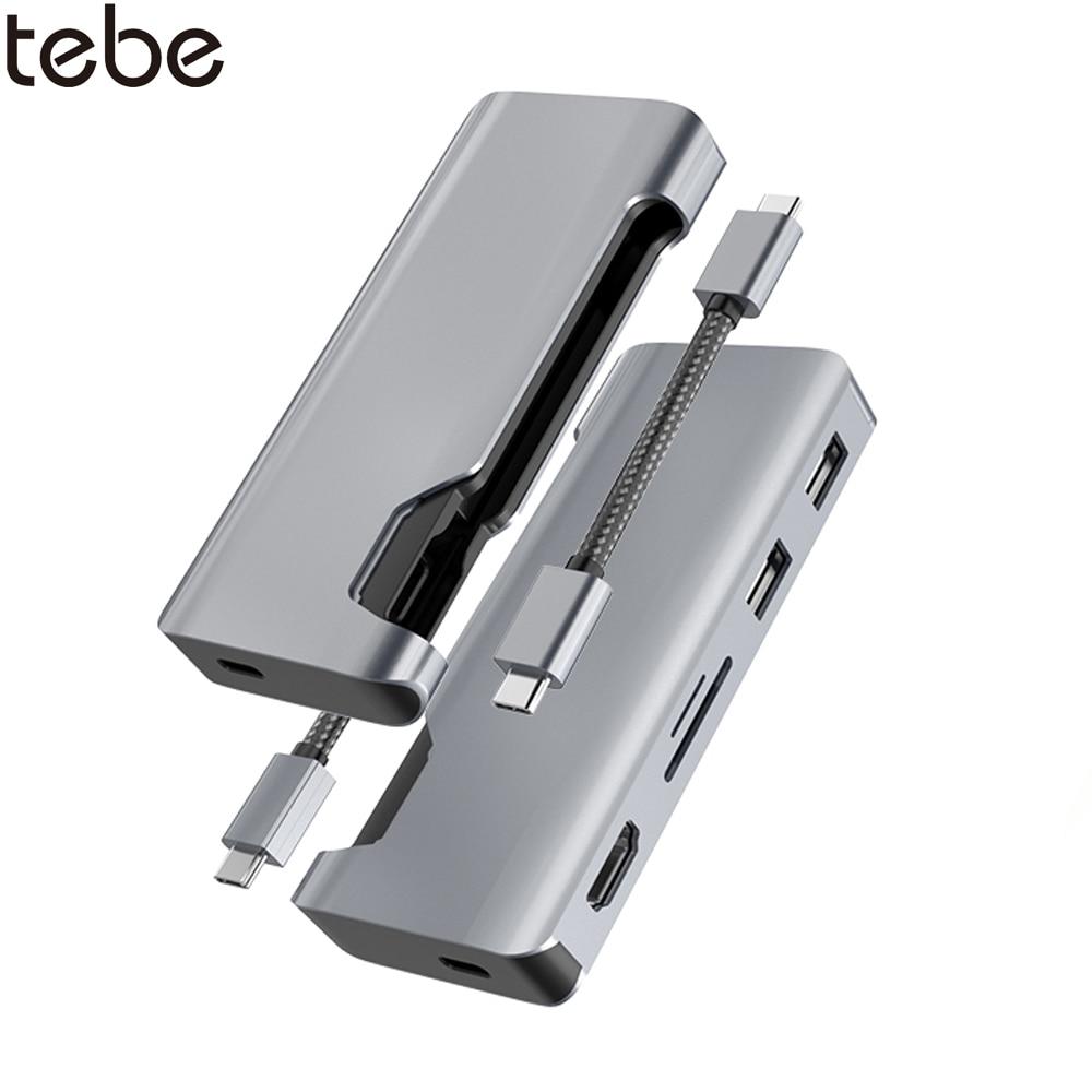 tebe USB C Hub Type c to 1080P HDMI VGA Multi USB 3.0 HUB Type-c to RJ45/SD/TF Adapter For Macbook Huawei Dell USB C Docking