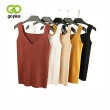 GOPLUS 2020 Sexy V Neck Crop Top z dzianiny koszula damska Plus rozmiar bez rękawów bielizna casualwear dla kobiet odzież dla kobiet