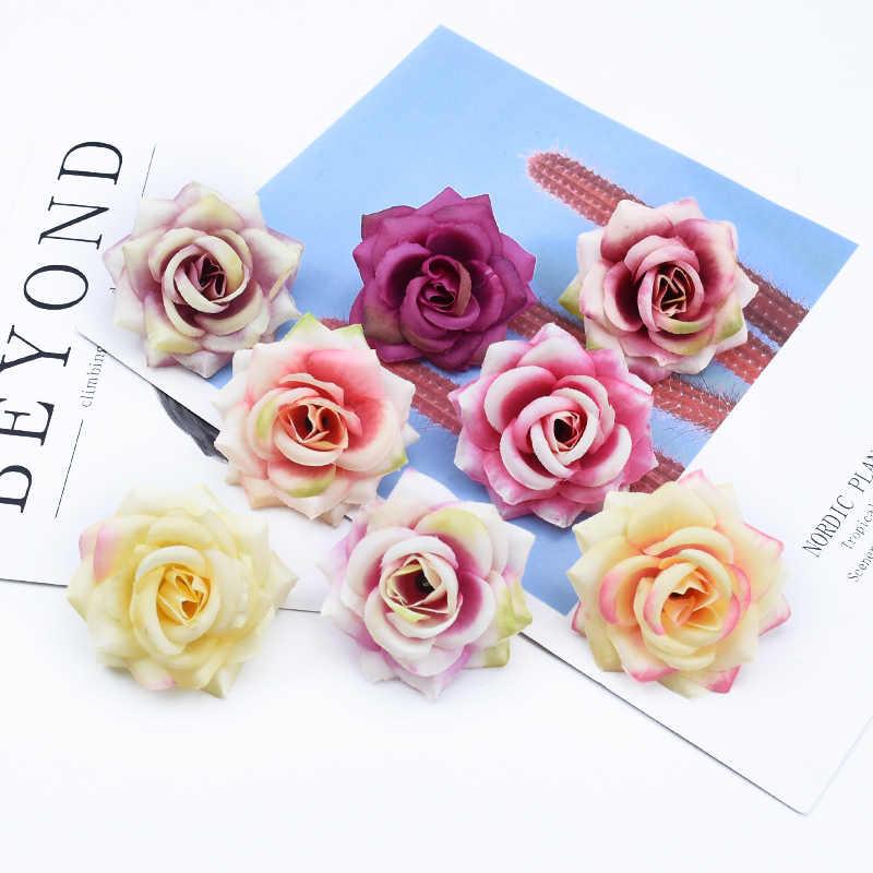 2/5/10/sztuk ślubne dekoracje kwiatowe wieńce akcesoria do dekoracji domu DIY prezenty box jedwabne róże sztuczne kwiaty tanie