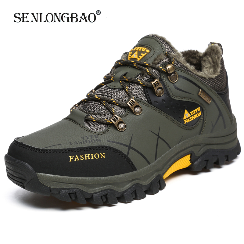 Winter Warm Plush Snow boots High Quality Waterproof Leather Men Boots Outdoor Rubber Lace Up Ankle Boots Men Sneakers Size39 47