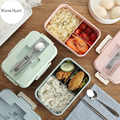 Mittagessen Box Weizen Stroh Geschirr Lebensmittel Lagerung Container Kinder Kinder Schule Büro Tragbare Mikrowelle Bento Box