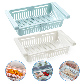 2Pcs Kitchen Accessories Storage Container Refrigerator Organizer Adjustable Plastic Fridge Storage Baskets Pull-out Drawer image