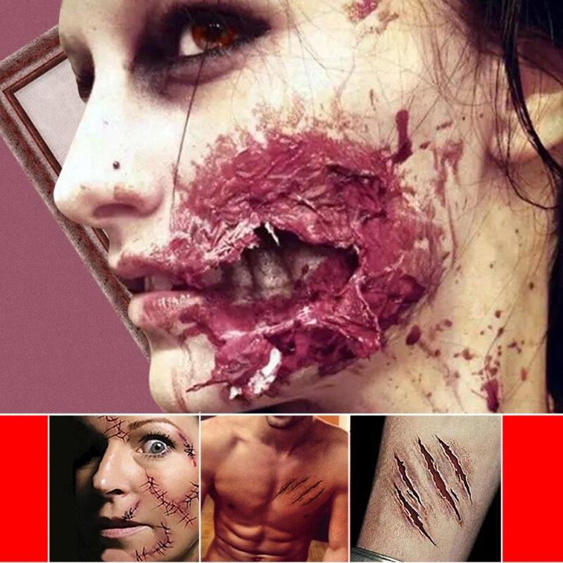 Защита ужасные зомби татуировки со шрамами с поддельной паршей крови макияж Хэллоуин вечерние украшения ран страшная кровь травма стикер