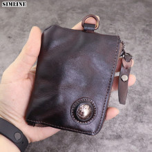 SIMLINE Genuine Leather Wallet Men Women Vintage Short Small