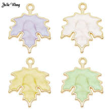 Julie Wang 8pcs 24*19mm Zinc Alloy Enamel Marple Leaf Charms For Necklace Pendant Bracelet Making Jewelry Accessory DIY Craft цена