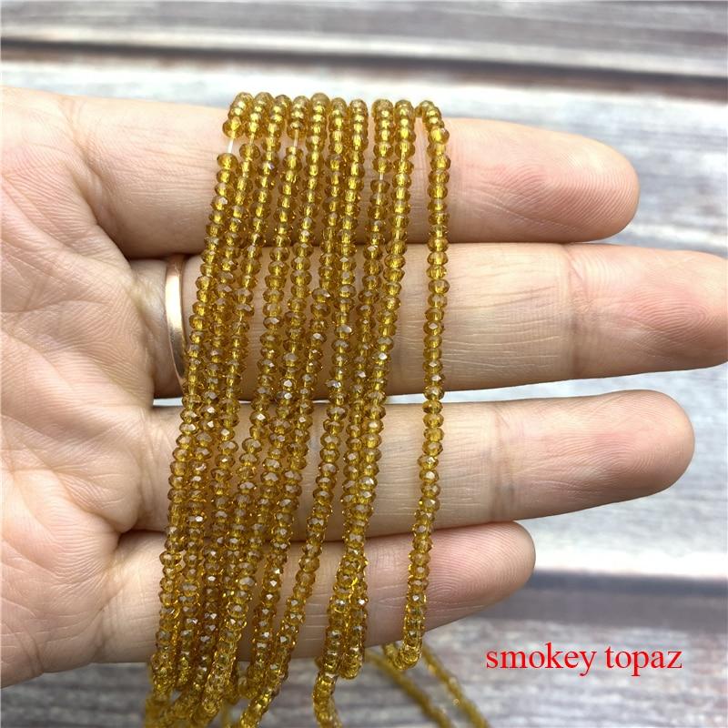 1 нитка 1X2 мм/2X3 мм маленькие хрустальные бусины Rondelle бисер-разделитель маленькие бусины для изготовления ювелирных изделий Diy - Цвет: smokey topaz