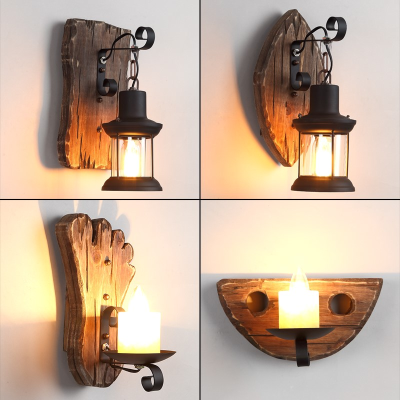 Vintage Retro Wooden Metal  Wall lamp lights for the Home Decorate Wall Light industrial decor loft Bar Restaurant Wall Lamp