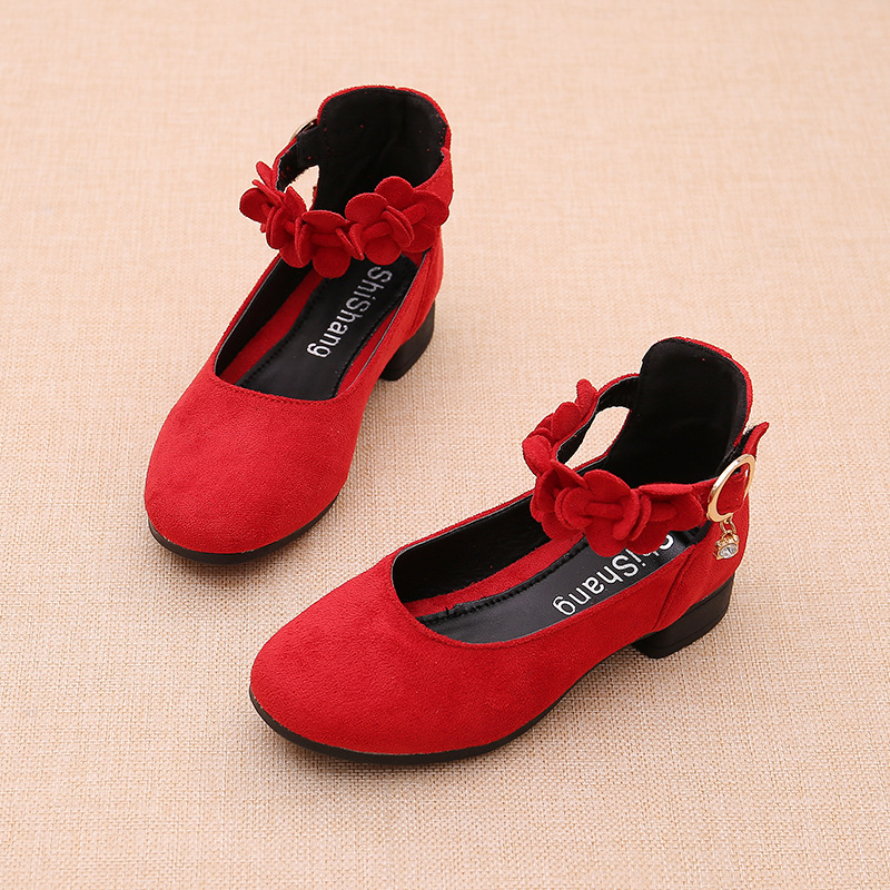 Pink Red Black Big Girls Leather Shoes For Kids High Heeled Girls Princess Shoes For Wedding And Party Dress Shoes Girls 3-15T