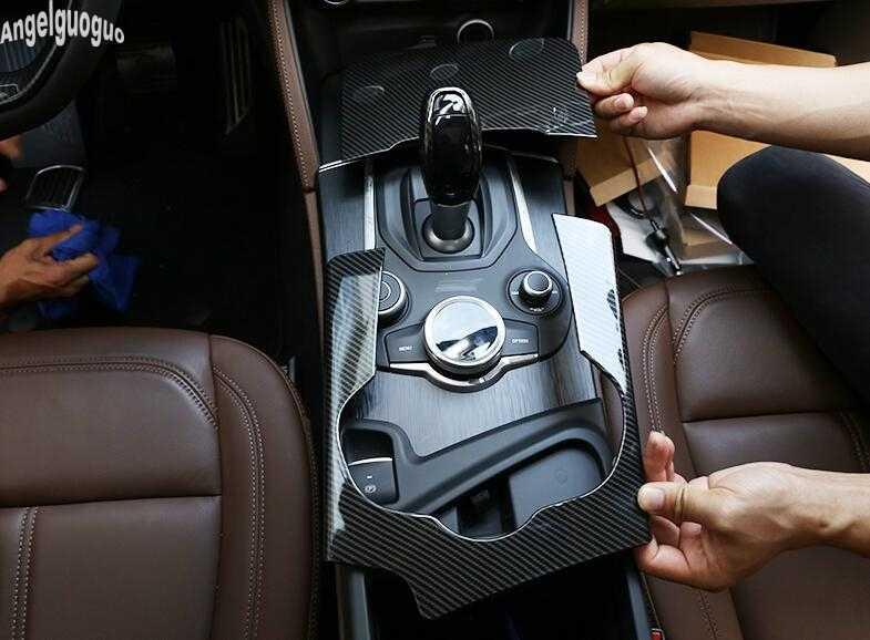 METYOUCAR Car Gear Box Chrome for Alfa Romeo Stelvio Modified Interior Accessories Central Control Gear Decorative Patch small
