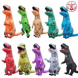 Image 5 - KOOY nadmuchiwany kostium dinozaura T REX Rider kostiumy Purim Carnival Party przebranie na karnawał kostium na Halloween dla mężczyzn kobiety dzieci