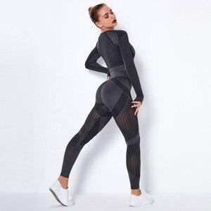 Image 3 - Женские Бесшовные комплекты для спортзала с высокой талией, сетчатые леггинсы для спортзала, рубашки, костюм с длинным рукавом, для занятий фитнесом, занятий спортом, бега, тонкие спортивные комплекты