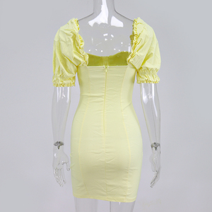 Image 5 - NewAsia Puff Sleeves Bodycon Dress Women 2019 Summer Vintage Push Up Party Dress Yellow Sexy Corset Padded Pencil Dress Mini
