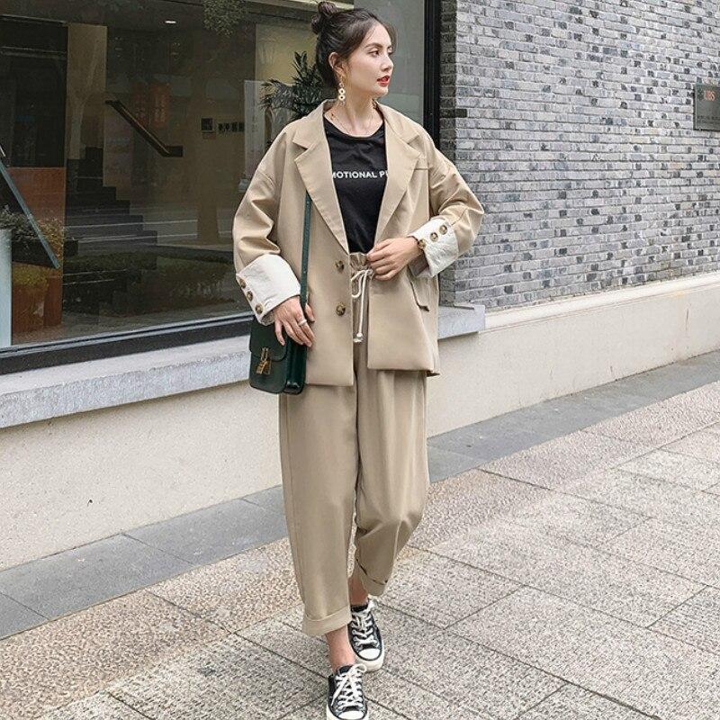 Autumn And Winter Women's Suit Pants Suit 2019 New Loose Solid Color Suit Jacket Large Size Ladies Casual Pants Two-piece