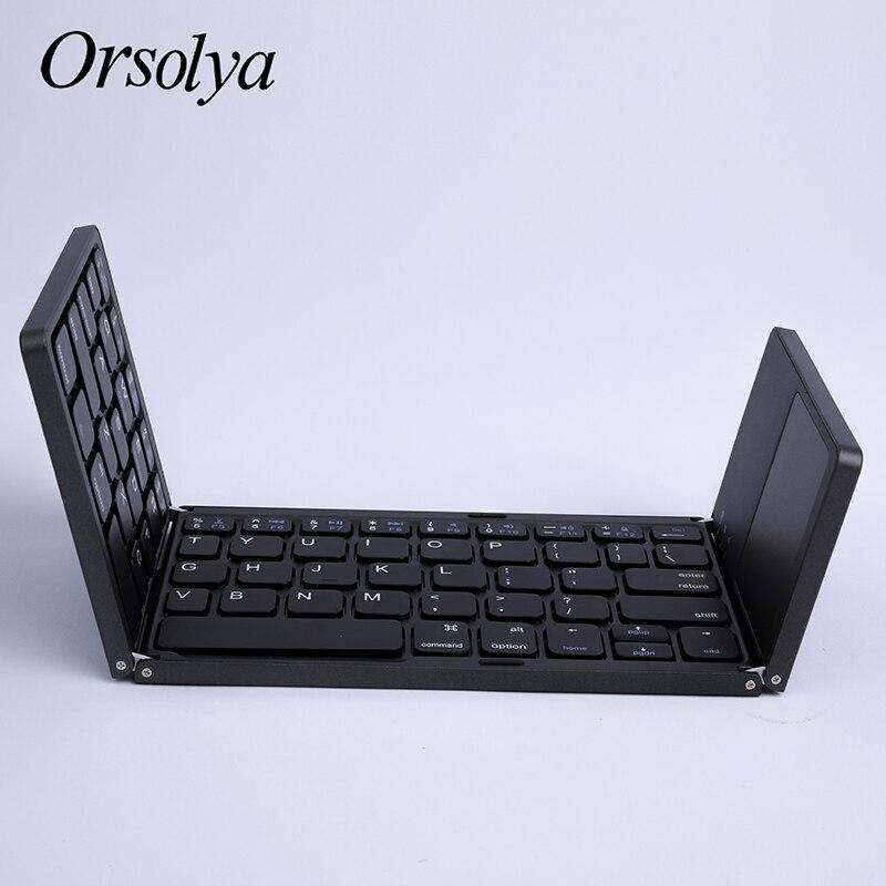 Image 3 - ミニ折りたたみキーボード Bluetooth 折りたたみワイヤレスキーボードとタッチパッド、充電式、アンドロイド/windows  の/ios タブレット電話 ipad    グループ上の パソコン