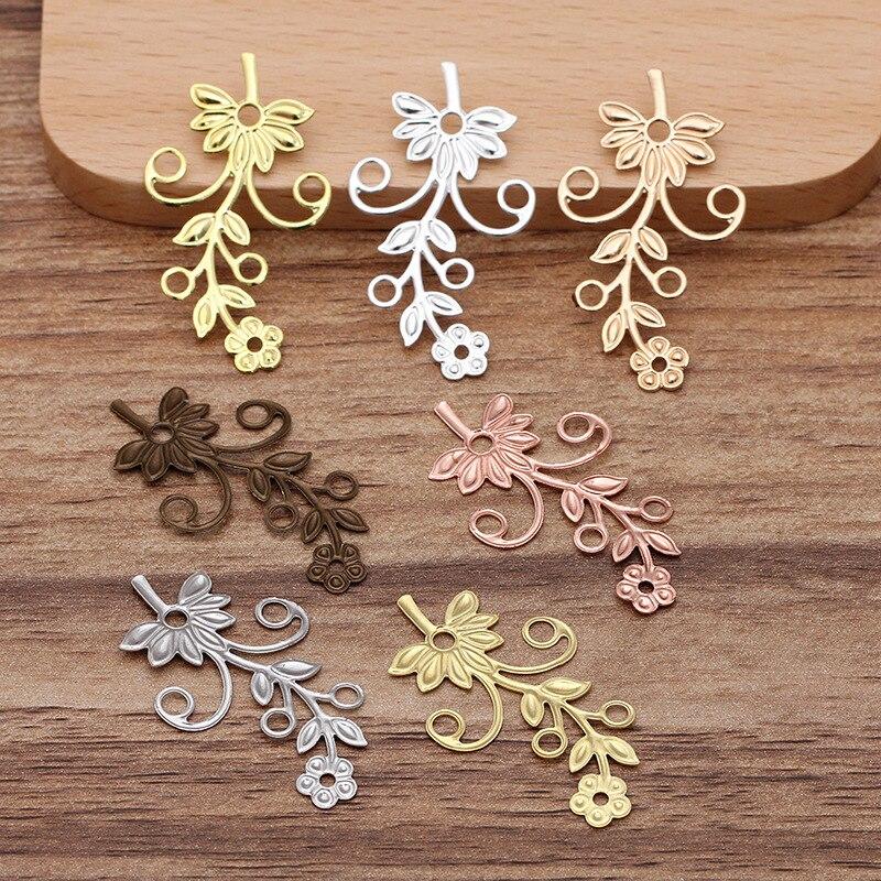 10 pçs/lote 22*40mm Banhado A Ouro Prata Banhado Encantos De Bronze Filigrana Flor Conectores Para Fazer Jóias DIY Material 025