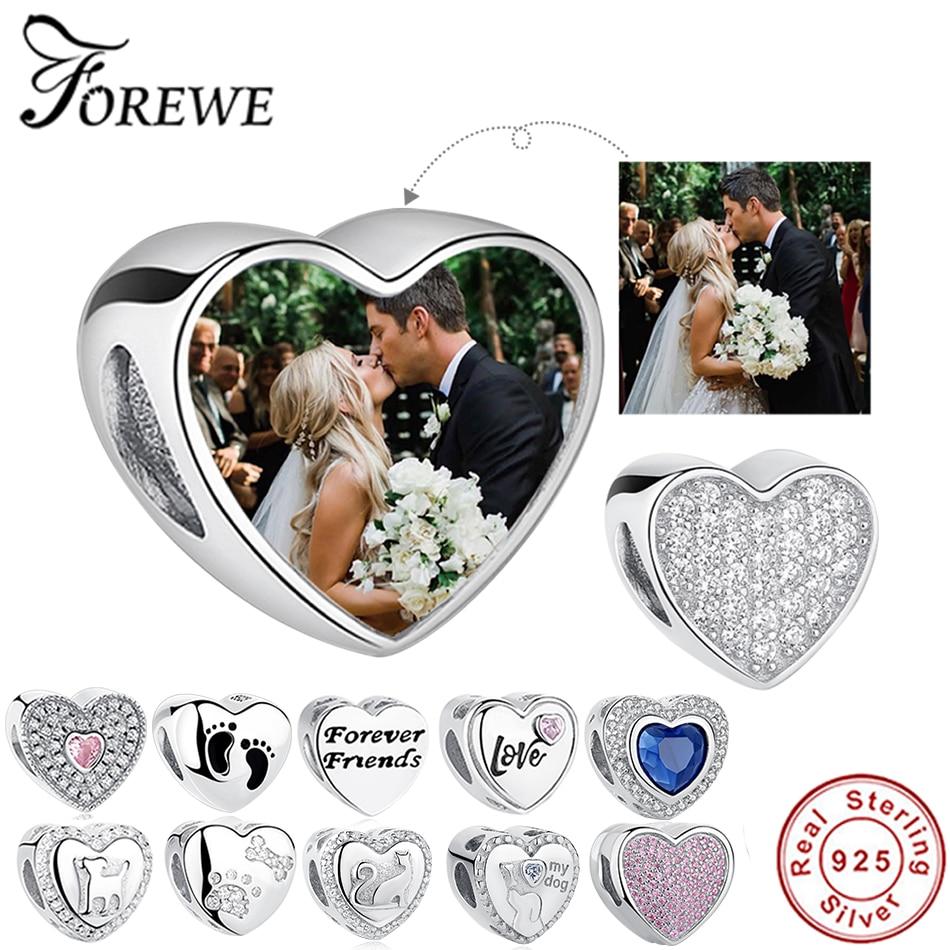 100% Authentic 925 Sterling Silver Bead Charm Fit Original Pandora Bracelet DIY Custom Photo Crystal Heart Beads Jewelry Making(China)