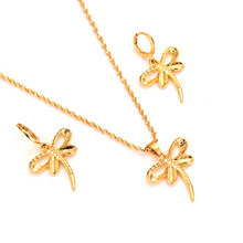 Gold Africadubai india dragonfly Jewelry Sets For Women Pendant Necklace Earrings bijoux femm PNGbridal party jewellery girlgift(China)