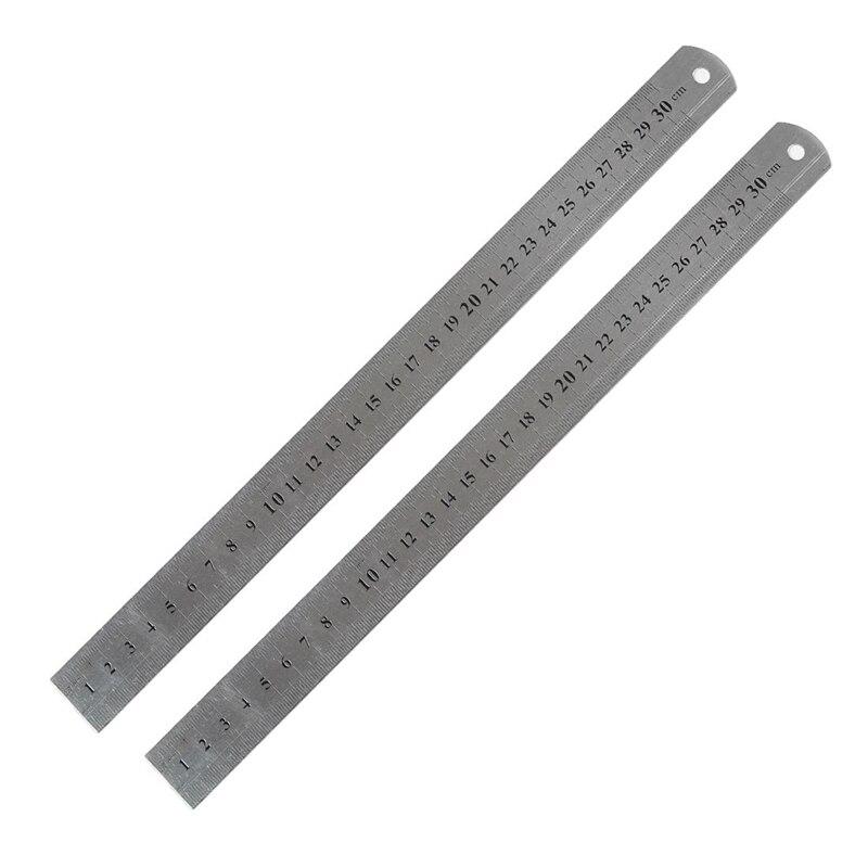 BEST2 Pcs Metric 30cm Stainless Steel Straight Ruler Measuring Tool 12
