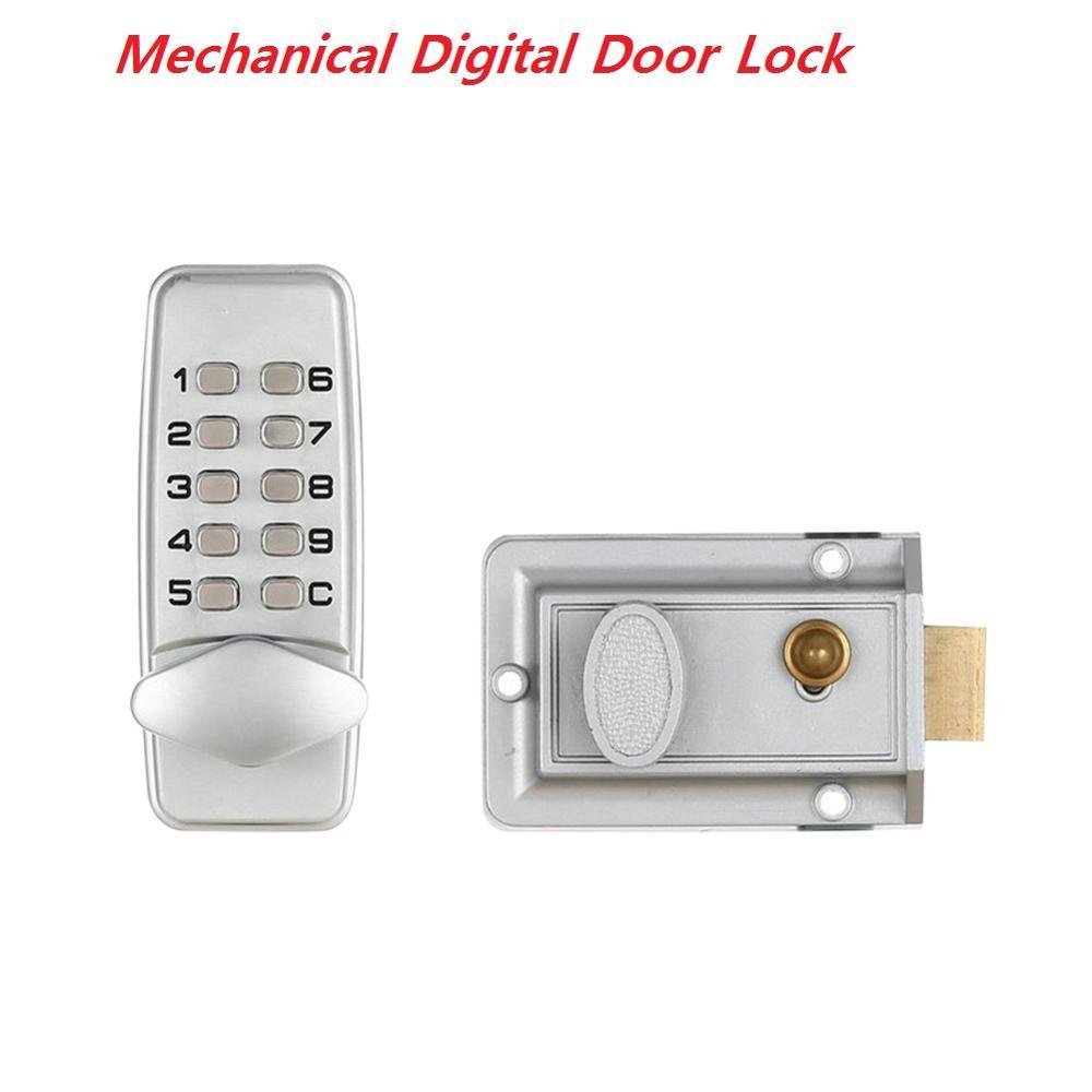 Waterproof Mechanical Digital Door Lock Push Button Keypad Keyless Code Combination Lock For 30-60mm Door Fireproof Lock