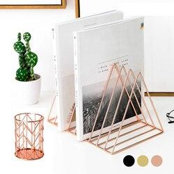 Desktop Organizer Set 1pcs 9 Slot Driehoek Magazine Holder Boek Bestand Opbergrek + 1pcs Potlood Cup voor home School Office Decor