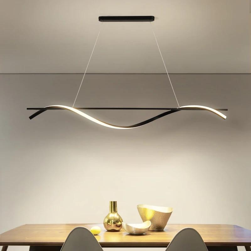 Nordic Led Pendant Lights With Strip Lights For Kitchen Dining Room Hanging Ceiling Lamp Ac90 265v Decoration Lighting Pendant Lights Aliexpress