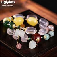 Uglyless 14K Gold Multi Gemstones Bracelets for Women Elastic Rope 2 Layers Infinity Bracelets Crystal Amber Jade Jewelry BR268