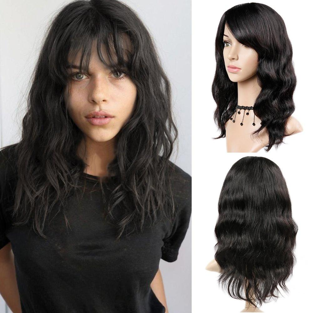 FAVE100% Remy Human Hair Natural Wave Wigs With Bangs Brazilian Human Hair Wig Natural Black For Black/White Women Fast Shipping