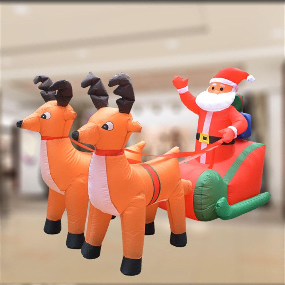 Рождественская надувная тележка с оленем, Рождественская двойная тележка с оленем, Санта Клаус, рождественское платье, украшения, добро пожаловать, реквизит - 2