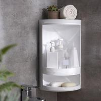 Bathroom Make Up Storage Rack Corner Shelf Cabinet Multi Layer Storage Suction Cosmetic Wall Storage Rack 360° Rotating