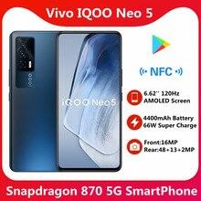 Original iqoo neo 5g smartphone snapdragon 870 66w super carregador 4400mah 120hz tela amoled google play store nfc otg