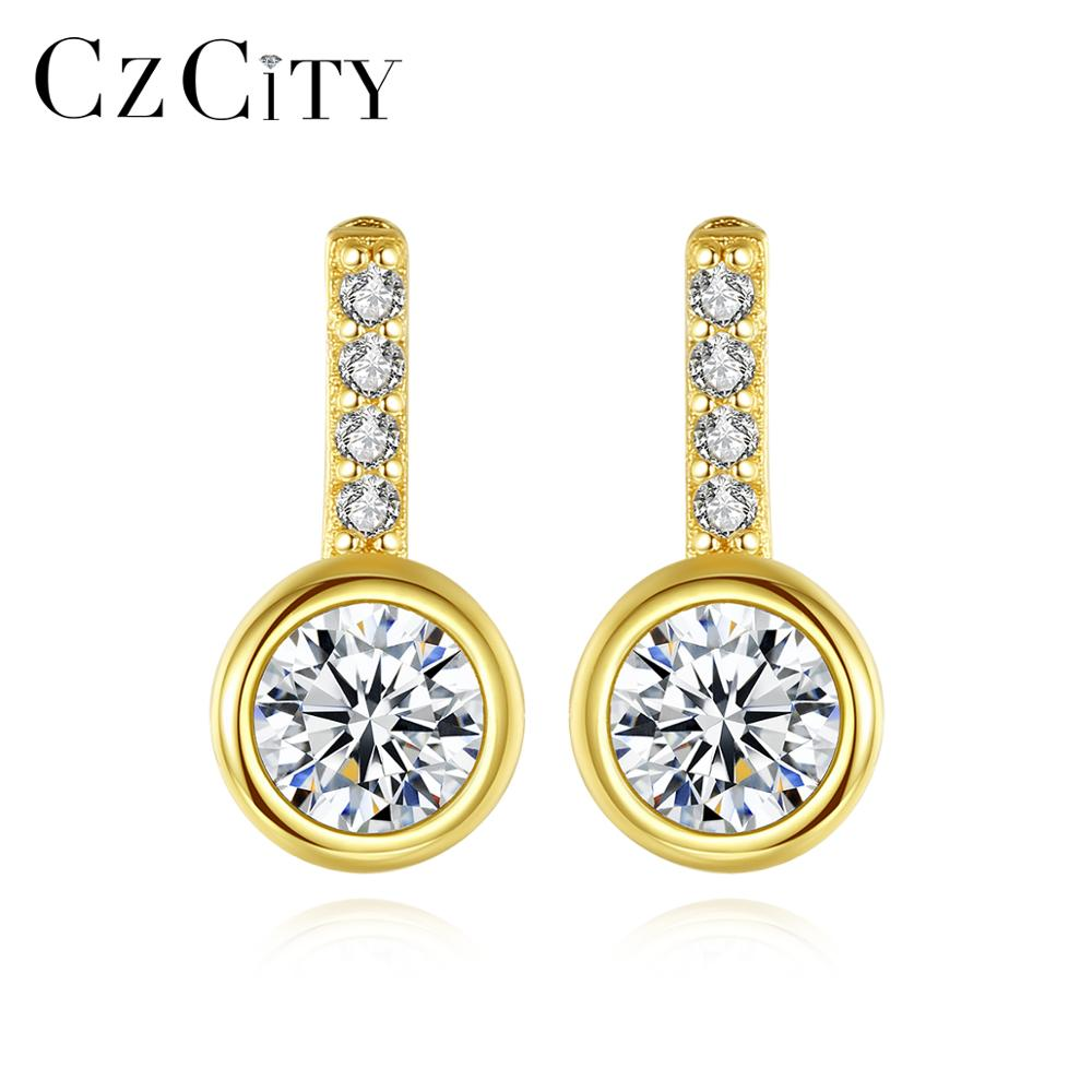 CZCITY Real 925 Sterling Silver Stud Earrings For Women Wedding Engagement Fine Jewelry Round CZ Brincos Bijoux Christmas Gifts