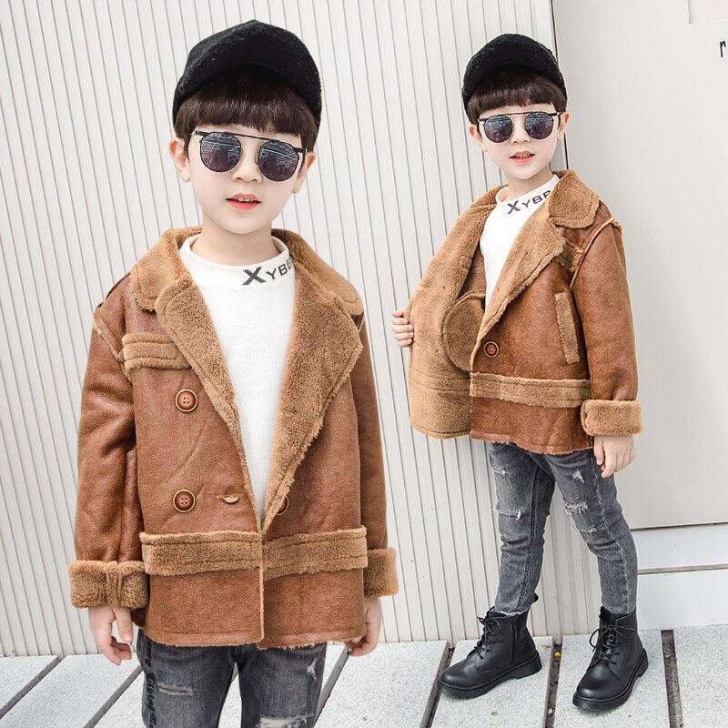 Leather Jackets Kid for Boys 2019  Autumn Winter Fur In Kids Pu Outerwear Children
