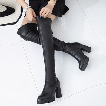 2020 New Thick-Heeled High-Heeled Round-Headed Boots Women Spring And Autumn All-Match Waterproof Platform Stretch Knee - discount item  48% OFF Women's Shoes